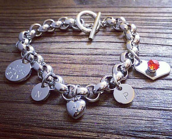 Rolo Toggle Bracelet Personalised Hand Stamped Charms and Birthstone Heart Charm. - Silver and Resin Designs