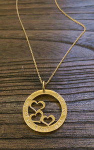 "Stainless Steel Gold Personalised Hand Stamped Triple Heart Design Circle Necklace 32mm ""A Mothers love has no end"" Made ready to post."