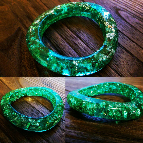 Resin Bangle, Light Emerald Green Silver Foil Mix Wave Design Handmade Bangle - Silver and Resin Designs