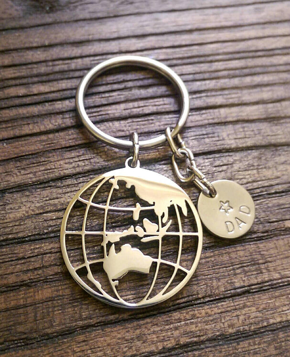 Personalised Hand Stamped Globe Key Ring Stainless Steel, Fathers Day Gift, Journey Gift