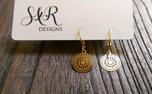 Circle Filigree Gold Stainless Steel Dangle Leverback Earrings.