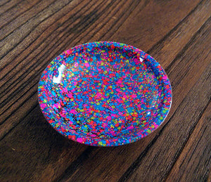 Ring Trinket Dish Neon Mix Glitter Hand Made Resin Dish - Silver and Resin Designs
