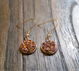 Sparkly Faux Druzy Stud Earrings made of Stainless Steel Rose Gold, Pink Rose Duzy