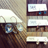 Glass Crystal Leverback Earrings Stainless Steel. Choose colour - Silver and Resin Designs