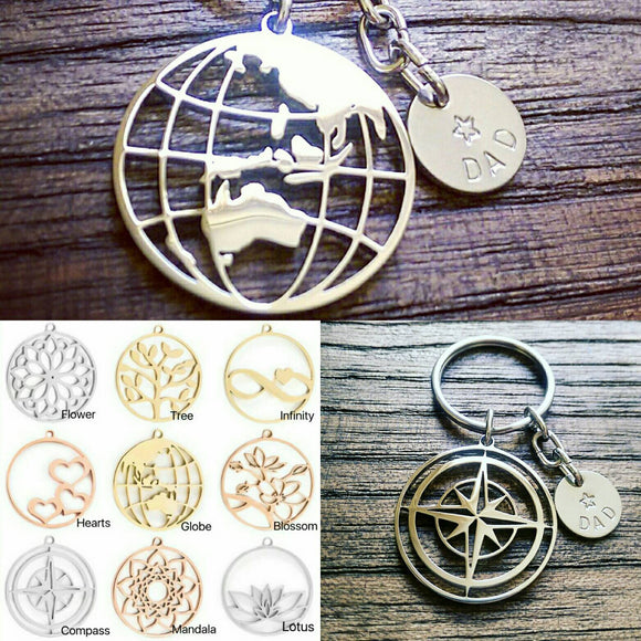Personalised Keyrings, Design your own Charm Keyrings Hand Stamped Disc - Silver and Resin Designs