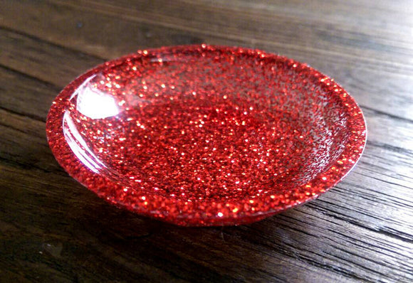 Ring Trinket Dish Red Glitter Mix Hand Made Resin Dish - Silver and Resin Designs