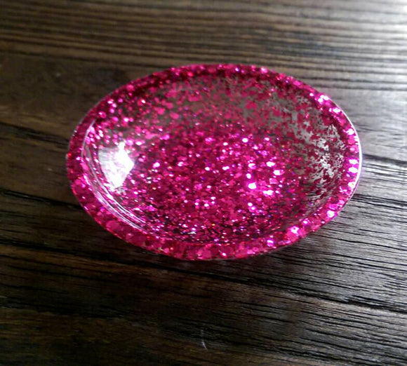 Ring Trinket Dish Pink Sparkly Glitter Mix Hand Made Resin Dish - Silver and Resin Designs