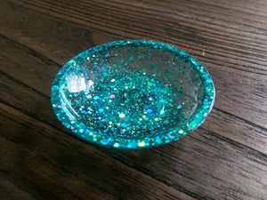Ring Trinket Dish Turquoise Sparkly Glitter Mix Hand Made Resin Dish - Silver and Resin Designs