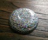 Ring Trinket Dish Silver Holographic Sparkly Glitter Mix Hand Made Resin Dish - Silver and Resin Designs