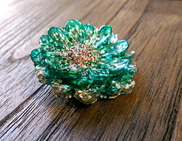 Resin Flower Brooch Stainless Steel Pin Glitter Mix - Silver and Resin Designs