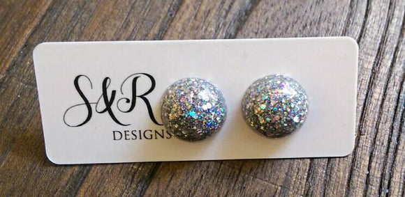 Glamour Glitter Resin Circle Stud earrings, Silver Holographic Glitter Earrings,  stainless steel - Silver and Resin Designs