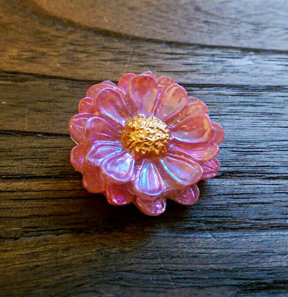 Resin Flower Brooch Stainless Steel Pin Pink Watermelon Mix - Silver and Resin Designs