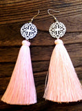 Stainless Steel Filigree Design Tassel Earrings. Choose Colour - Silver and Resin Designs