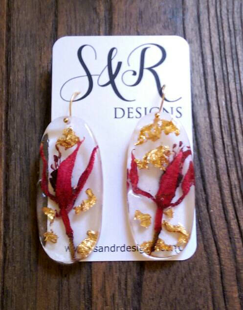 Flower Resin Earrings, Gold Leaf Resin Earrings, Real Flowers from my Garden with Gold Foil mixed with Resin Dangle Earrings Handmade
