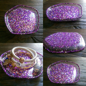 Resin Ring Dish Pentagon Design Sparkly Mixed Purple Silver Glitters - Silver and Resin Designs