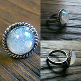 Resin Glitter Ring, Fine Glitter Stainless Steel Statement Ring - Silver and Resin Designs