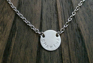 Personalised Hand Stamped Circle 15mm Disc Necklace Pendant Stainless Steel. - Silver and Resin Designs