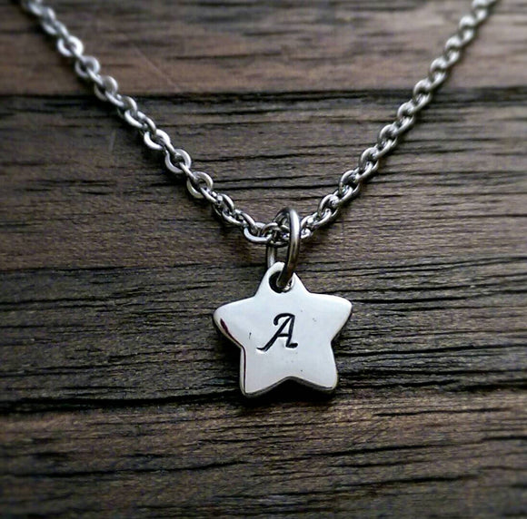 Personalised Hand Stamped Star Initial Necklace Pendant Stainless Steel. - Silver and Resin Designs