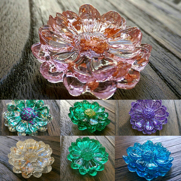 Resin Flower Brooch Stainless Steel Pin Pink Choose your colour