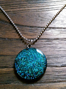 Resin Circle Necklace Blue and Turquoise mix glitter Stainless Steel. 30mm Circle Pendant. - Silver and Resin Designs