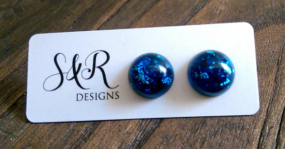 Resin Circle Stud earrings Blue Silver Leaf mix Stainless Steel 14mm