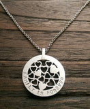 "Hand Stamped Personalised Circle Necklace Multi Hearts  Design 30mm Silver Necklace ""Family is Forever"" Ready Made ready to post."