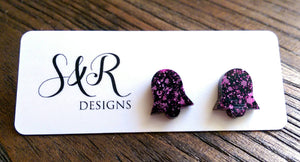 Bell Flower Resin Stud Earrings, Pink and Black Mix Earrings. Stainless Steel Stud Earrings.