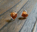 Heart Resin Stud Earrings made of Sparkly Glitter, Stainless Steel  Choose colour