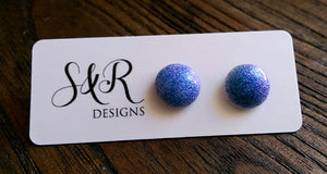 Circle Resin Stud Earrings, Purple, Blue Mix Shimmer Glitter Earrings - Silver and Resin Designs