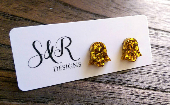 Bell Flower Resin Stud Earrings, Gold Glitter Earrings. Stainless Steel Stud Earrings.