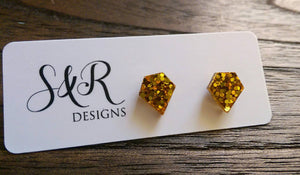 Diamond Cut Gold Resin Stud Earrings, Gold Glitter Earrings. Stainless Steel Stud Earrings.