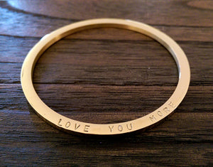 Gold Hand stamped Bangle Personalised Love You More Bangle Stainless Steel. Ready to post. Size Small 62mm inner diameter.