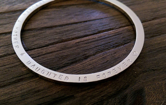 Hand Stamped Bangle The Love Between A Mother & Daughter is Forever Heart Symbol Stainless Steel. Ready 2 post. Large 68mm