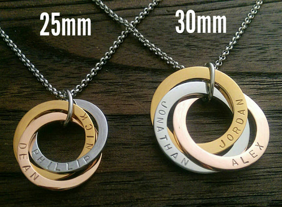 Russian Connecting Ring Necklace Personalised Hand Stamped 25mm Rings