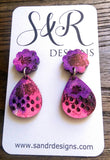 Teardrops Long Resin Earrings, Pink and Purple Mix Colour Earrings, Stainless Steel Earrings - Silver and Resin Designs
