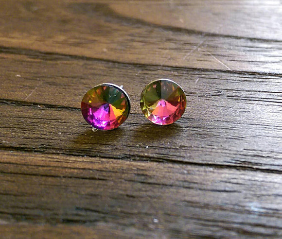 Glass Crystal Stud Earrings Stainless Steel. Choose colour: Clear, Multi coloured, Light Blue or Aquamarine