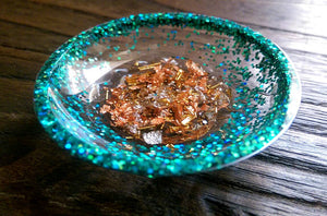 Ring Trinket Dish Turquoise Sparkly Glitter Mixed with Silver, Gold & Rose Gold Leaf - Silver and Resin Designs