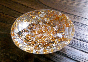 Trinket Ring Dish, Gold and Silver Leaf Ring Dish, Hand Made Resin Dish