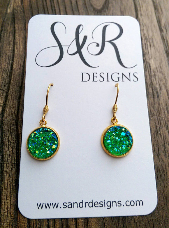 Green Sparkly Faux Druzy Dangle Earrings made of Stainless Steel Gold - Silver and Resin Designs