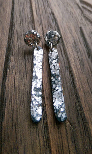 Silver Glitter Long Earrings, Stick Resin Earrings, Silver Glitter, Stainless Steel Earrings