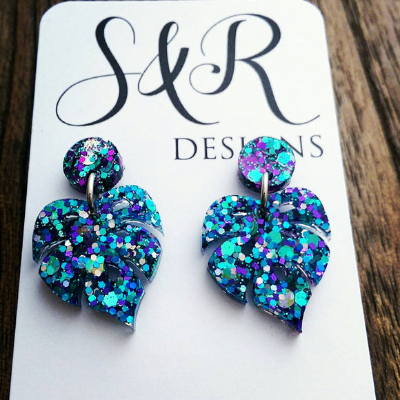 Monstera Leaf Resin Glitter Earrings, Purple Blue Teal and Silver Leaf Earrings - Silver and Resin Designs