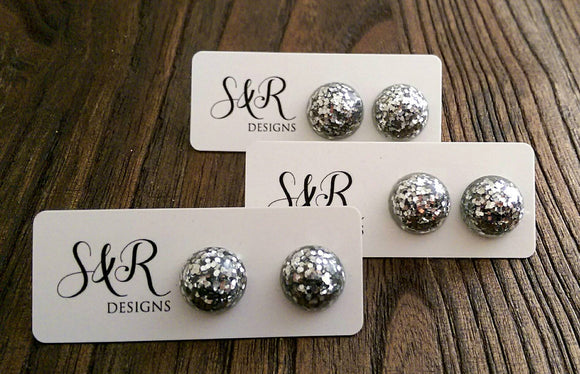 Resin Circle Stud earrings stainless steel Silver Glitter Earrings Sparkly. - Silver and Resin Designs