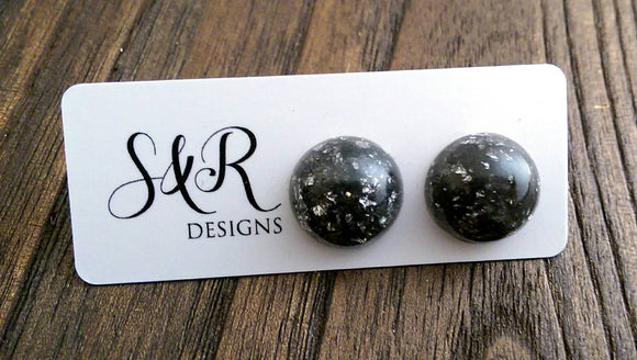 Resin Circle Stud earrings Black Silver Leaf mix Stainless Steel 16mm or 13mm - Silver and Resin Designs