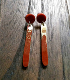 Rusty Red and Gold Long Earrings, Stick Resin Earrings, Stainless Steel Earrings - Silver and Resin Designs