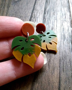 Monstera Leaf Resin Earrings, Green Rusty Red Mustard Resin Earrings, Autumn Leaf Colours, Stainless Steel Earrings, Statement Leaf Earrings