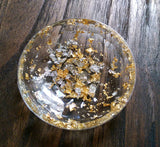 Resin Ring Trinket Dish Light Gold and Silver Leaf mix. - Silver and Resin Designs