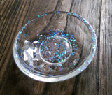 Resin Trinket Ring Dish, Opal Flake Glitter Ring Dish - Silver and Resin Designs