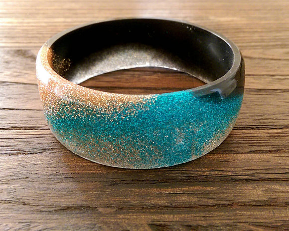 Glamour Statement Resin Bangle mixed with Turquoise & Copper Glitter with Black Handmade