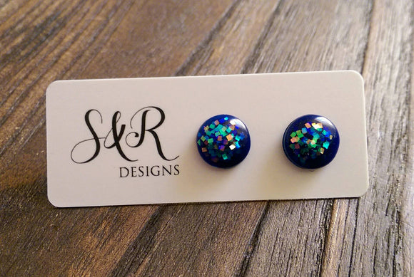 Circle Resin Stud Earrings, Blue Holographic Glitter 12mm - Silver and Resin Designs