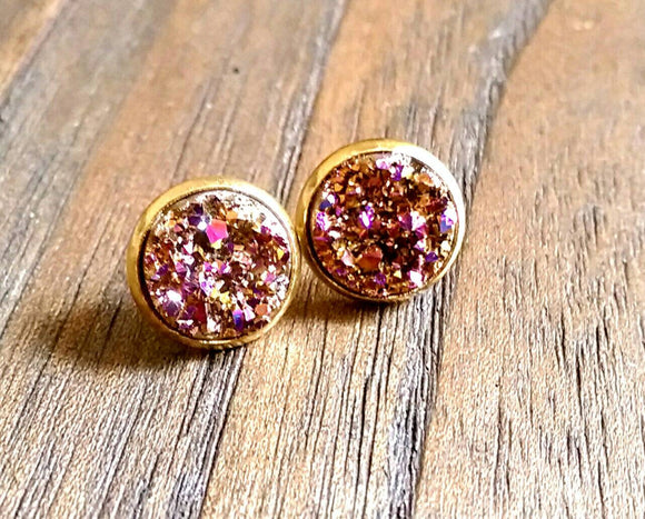 Rose Pink Faux Druzy Stud Earrings, Gold Plated Stainless Steel Earrings 12mm - Silver and Resin Designs